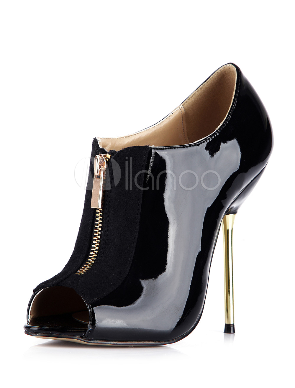 Black Peep Toe Stiletto Heel Patent PU Pretty Heeled Ankle Boots For Woman