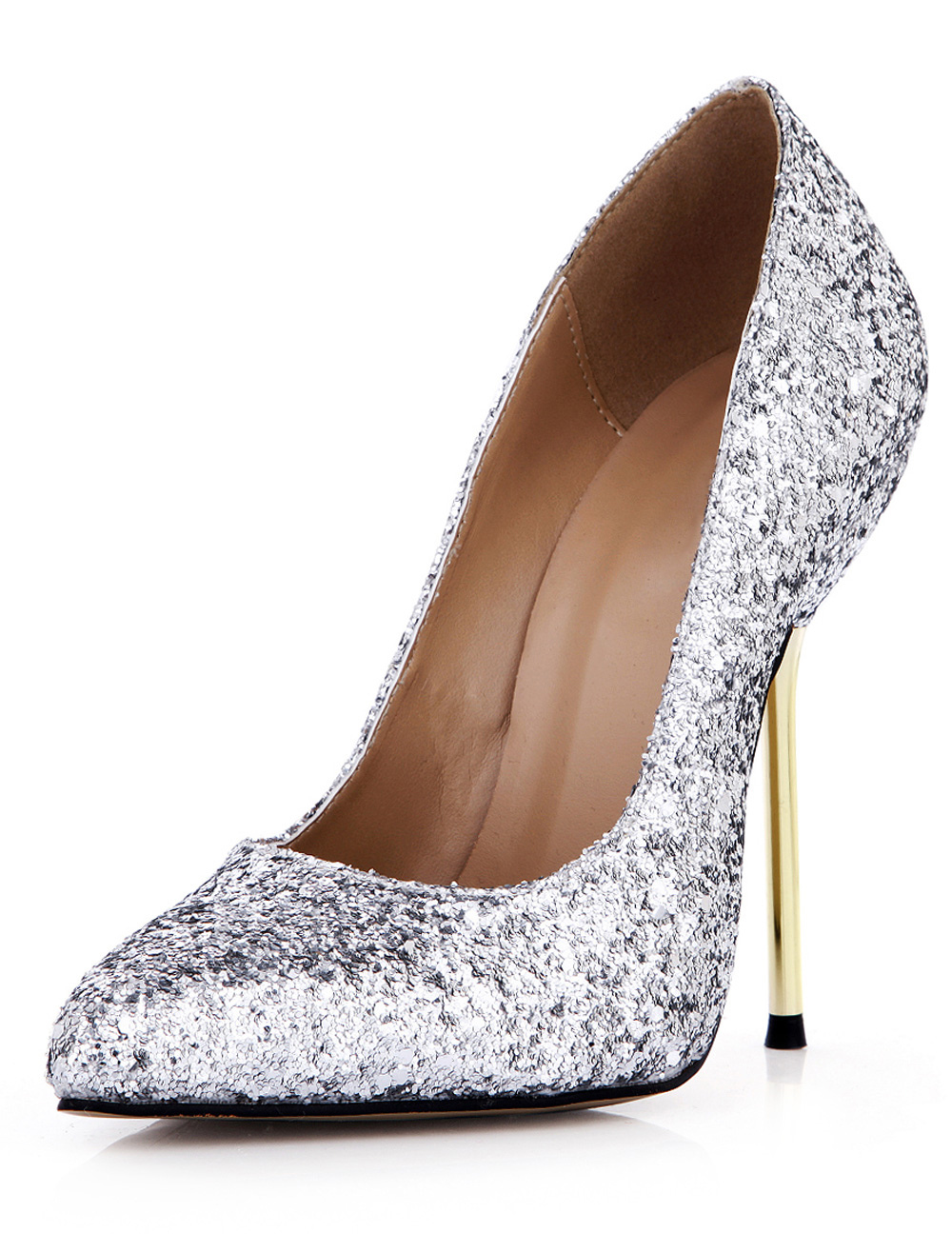 d0ae848ccc8 ... Pretty Silver Stiletto Heel Sequined Cloth Womens Pointy Toe Heels  -No.6. 12. 20%OFF. Color Silver