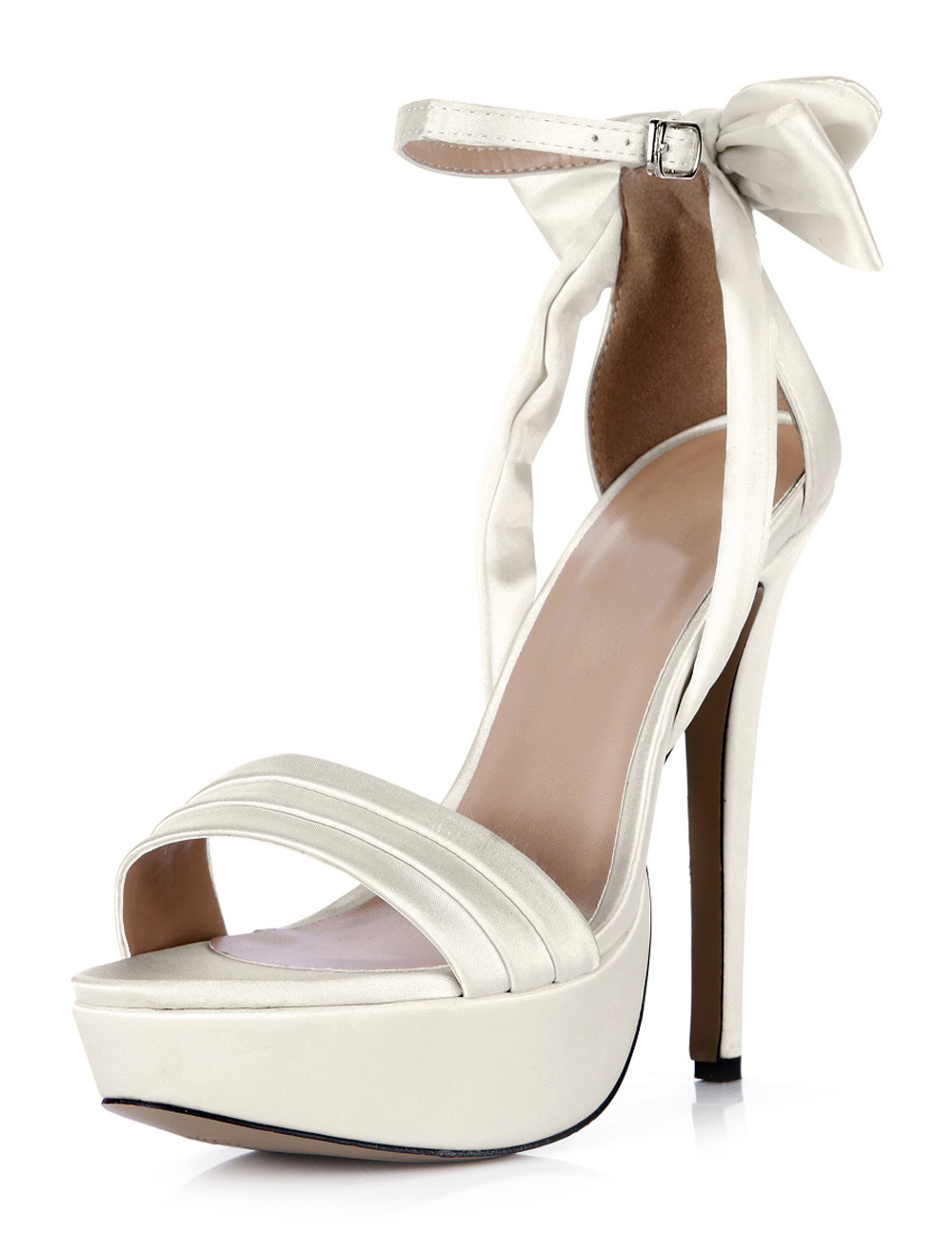Buy White Buckle Open Toe Imitated Silk Beautiful Evening and Brides Sandals for $47.99 in Milanoo store