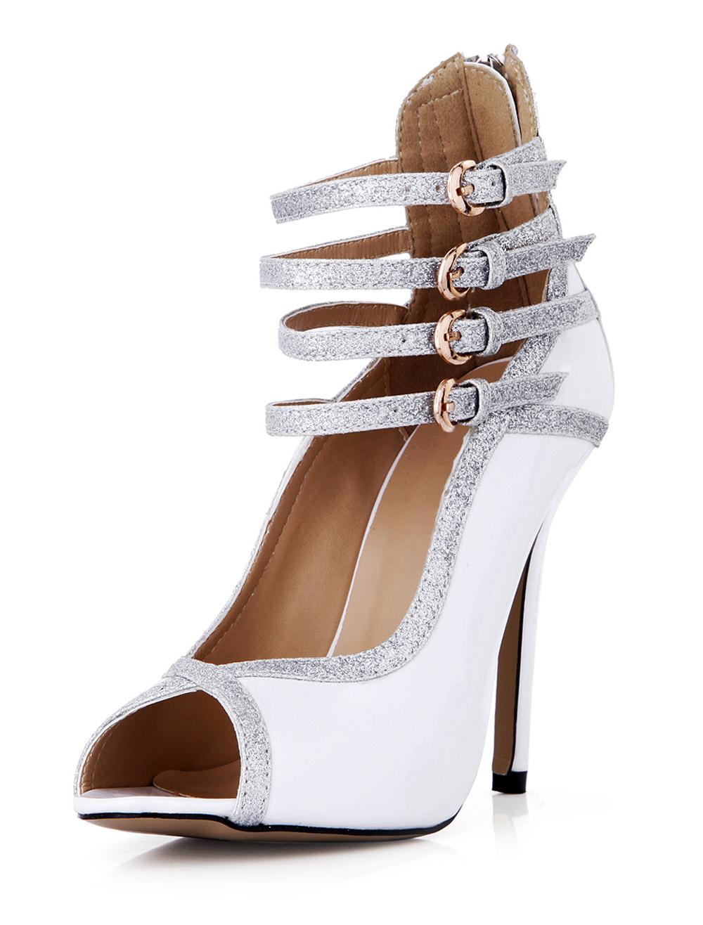 Fabulous White Stiletto Heel Buckles Patent PU Peep Toe High Heels