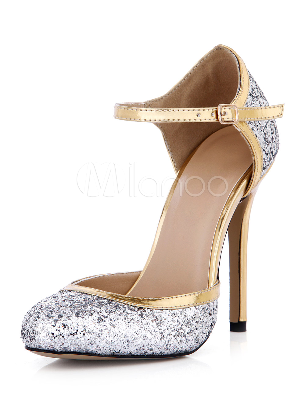 Buy Silver Sequined Cloth Round Toe Stiletto Heel Buckle Attractive Womens High Heels for $48.99 in Milanoo store