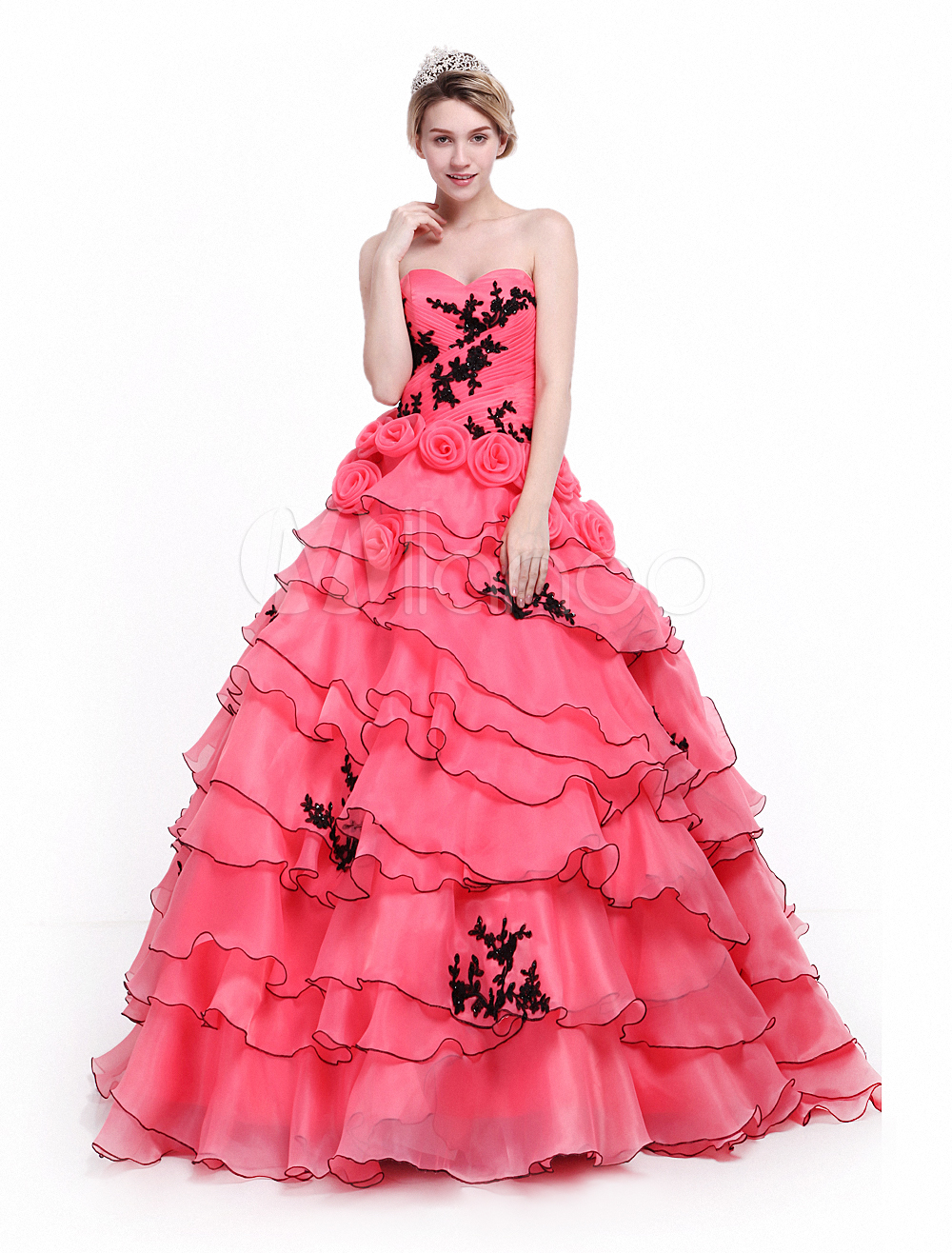 Vestido para quinceañeras de organza Rojo coral con escote en ...