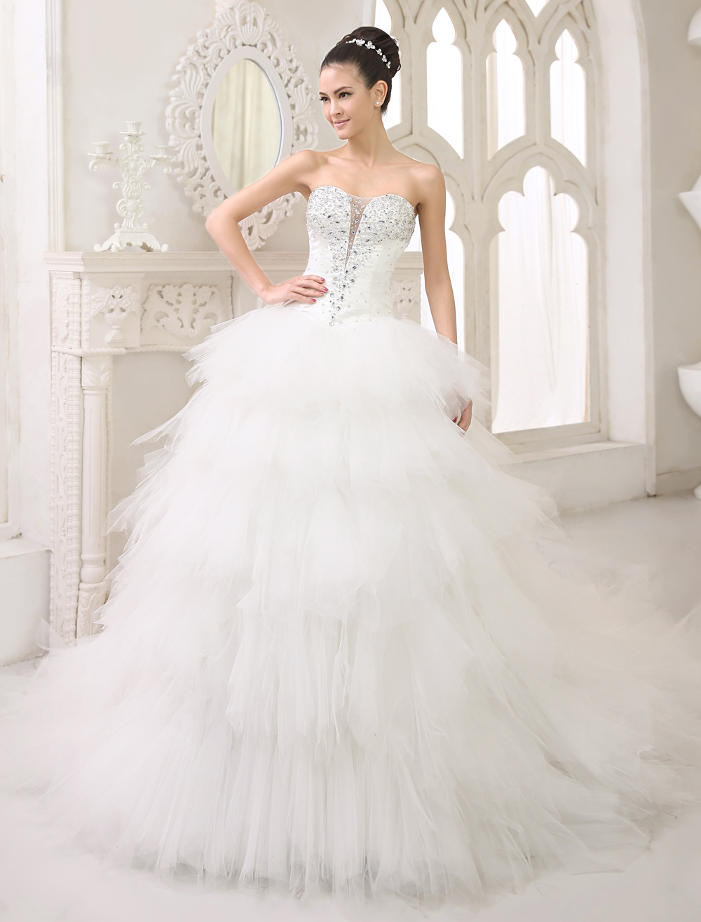 Buy Ivory Ball Gown Sweetheart Neck Strapless Tiered Chapel Train Tulle Wedding Dress For Bride Milanoo for $260.99 in Milanoo store