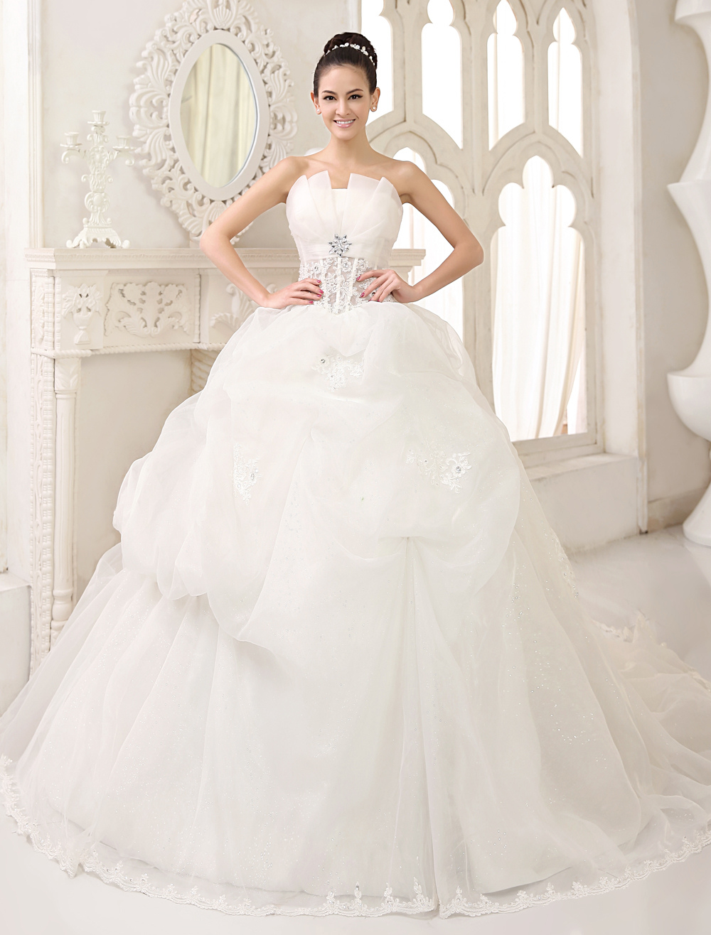 Buy Ivory Ball Gown Scalloped-Edge Neck Strapless Applique Chapel Train Organza Brides Wedding Dress Milanoo for $212.49 in Milanoo store