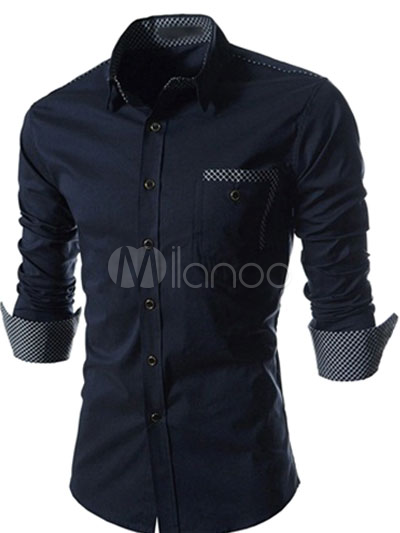 Cotton Blend Solid Color Shaping Long Sleeves Spread Neck Print Means Casual Shirt