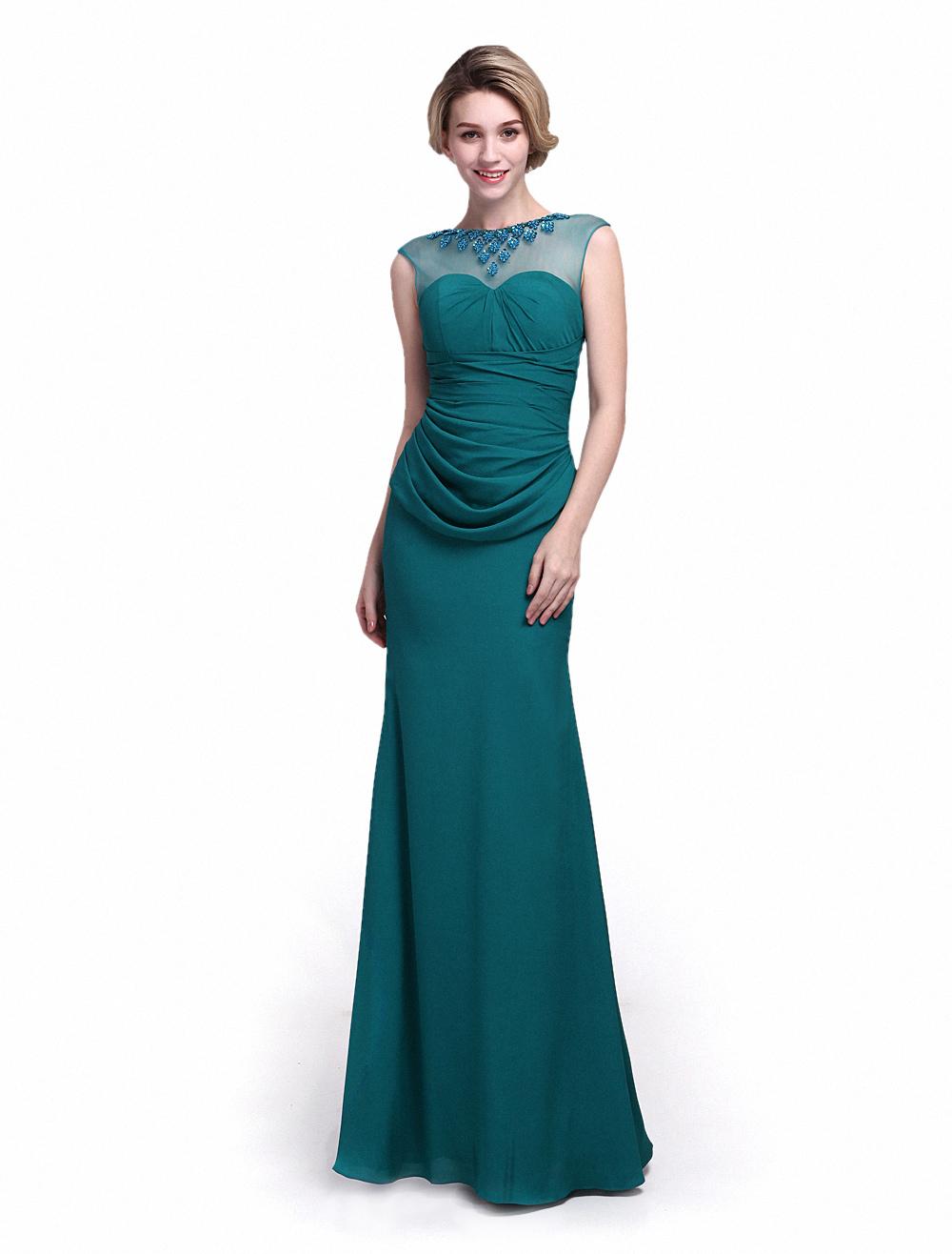 Vestido para la madre de los novios de crepe elástico verde con ...