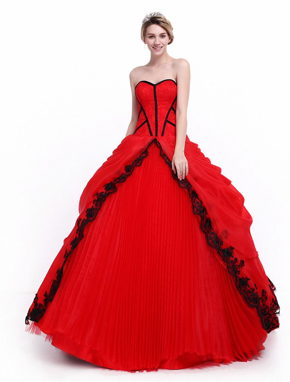 Ball Gown Red Quinceanera Dress with Sweetheart Neck  Milanoo
