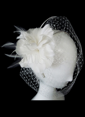 White Feather Birdcage Veil for Brides