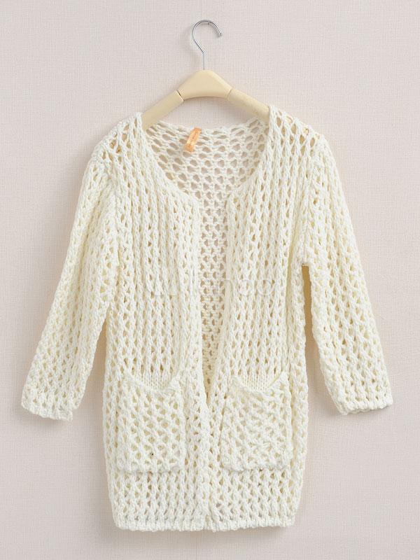 Ganchillo de manga larga de lana mezcla Color sólido Casual ...