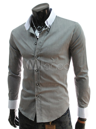 Buy Button Down Neck Long Sleeves Solid Color Cotton Casual Shirt For Man for $20.69 in Milanoo store