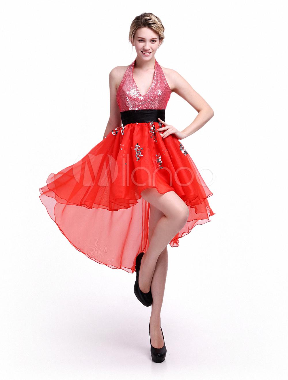 Vestido de fiesta de organza roja con escote Halter y lentejuelas ...