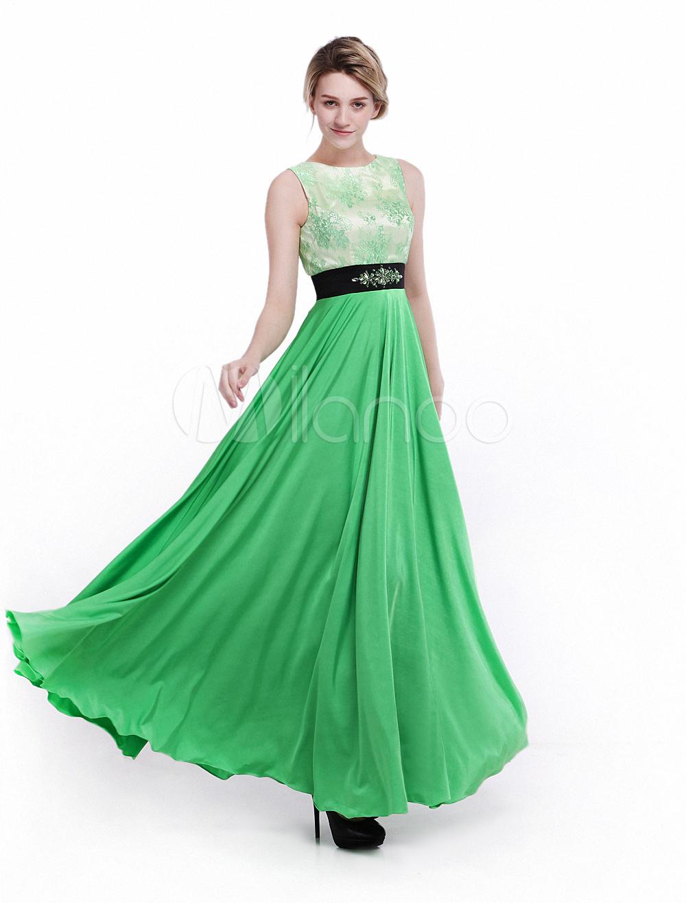 Avocado Green Prom Dress Empire Jewel Neck Rhinestone A Line Pleated ...