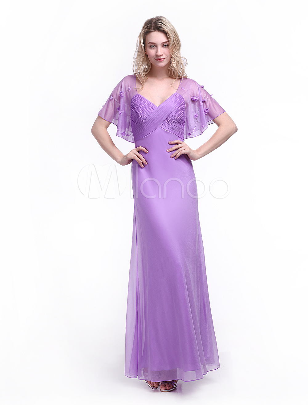 Lilac Evening Dress Beading Scoop Neck Short Sleeves Sheath Party Dress Milanoo