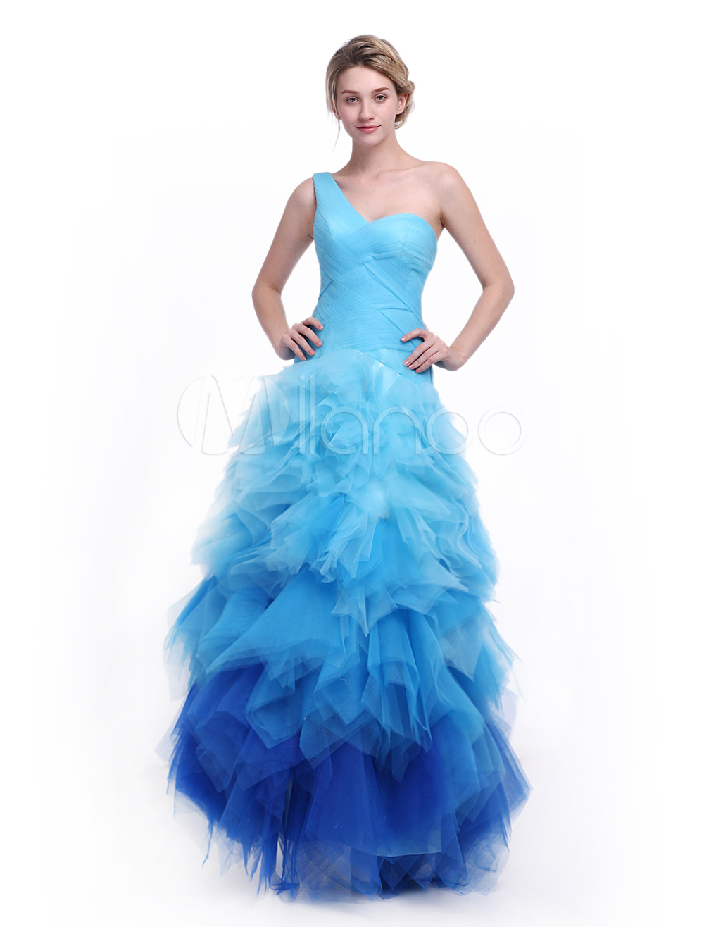 Blaue Prom-Kleid mit One-Shoulder und Farbverlauf Milanoo - Milanoo.com