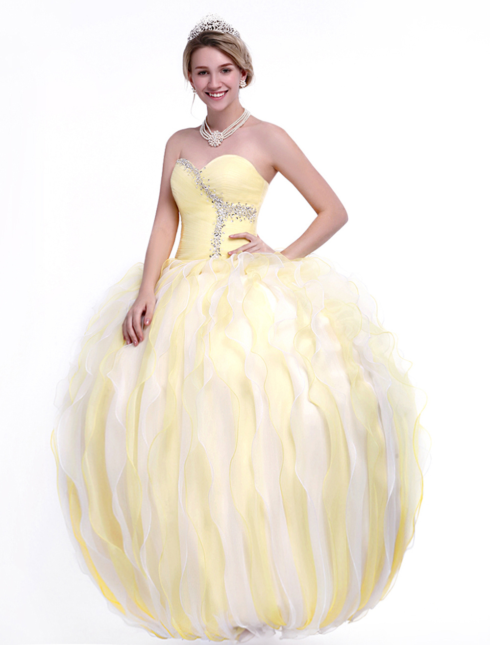 Cream Quinceanera Dress in Ball Gown Silhouette with Sweetheart Neck ...