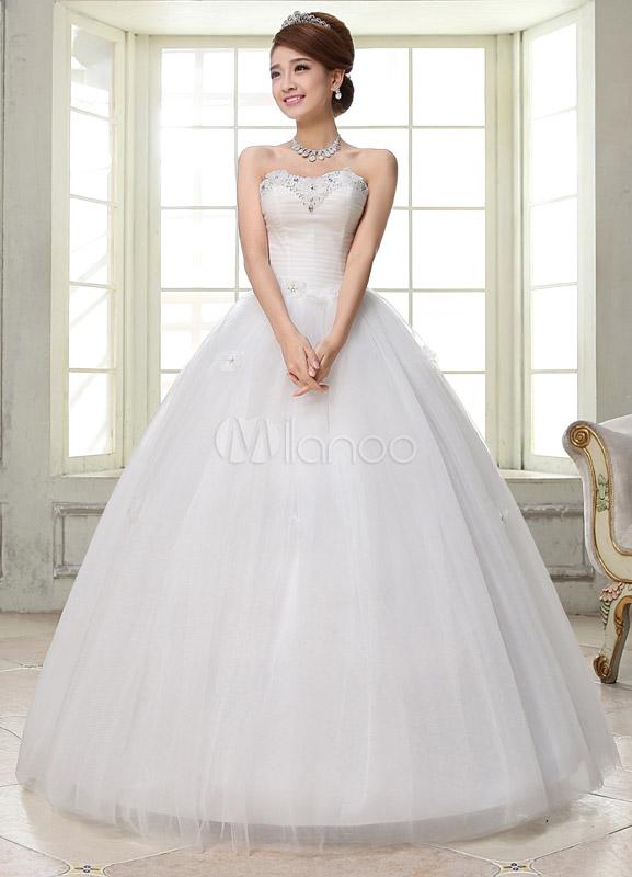 Vestido de novia blanco simple bola vestido novia cuello flor ...