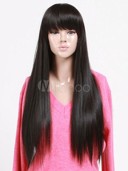 Perruque longue Perruque droite noire Perruque