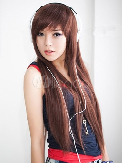 Chestnut Brown Side-swept Bangs Heat-resistant Fiber Romantic Long Wig For Woman Cheap clothes, free shipping worldwide