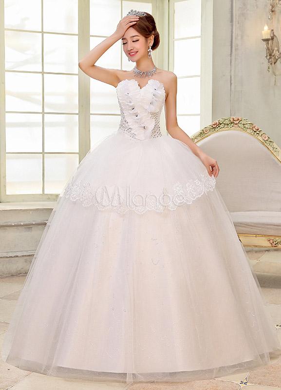 Vestido De Novia Blanco Con Bola Vestido Novia Cuello Y Flor Vestido Falda De Organza