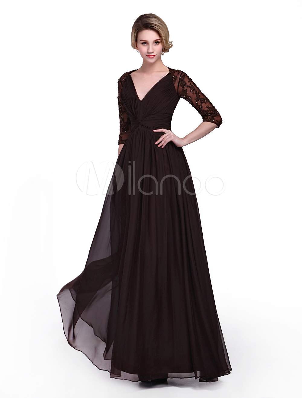 Chocolate Dress For Mother of the Bride with A-line Skirt V-Neck Applique 3/4 Length Sleeves  Milanoo