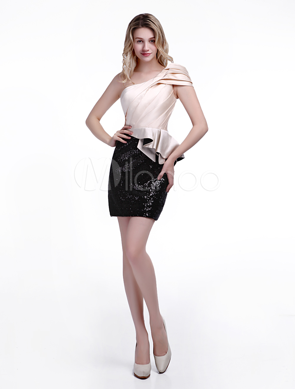 Elegant Wedding Guest Dress with One-Shoulder Sequin Satin Skirt Wedding Guest Dress Milanoo