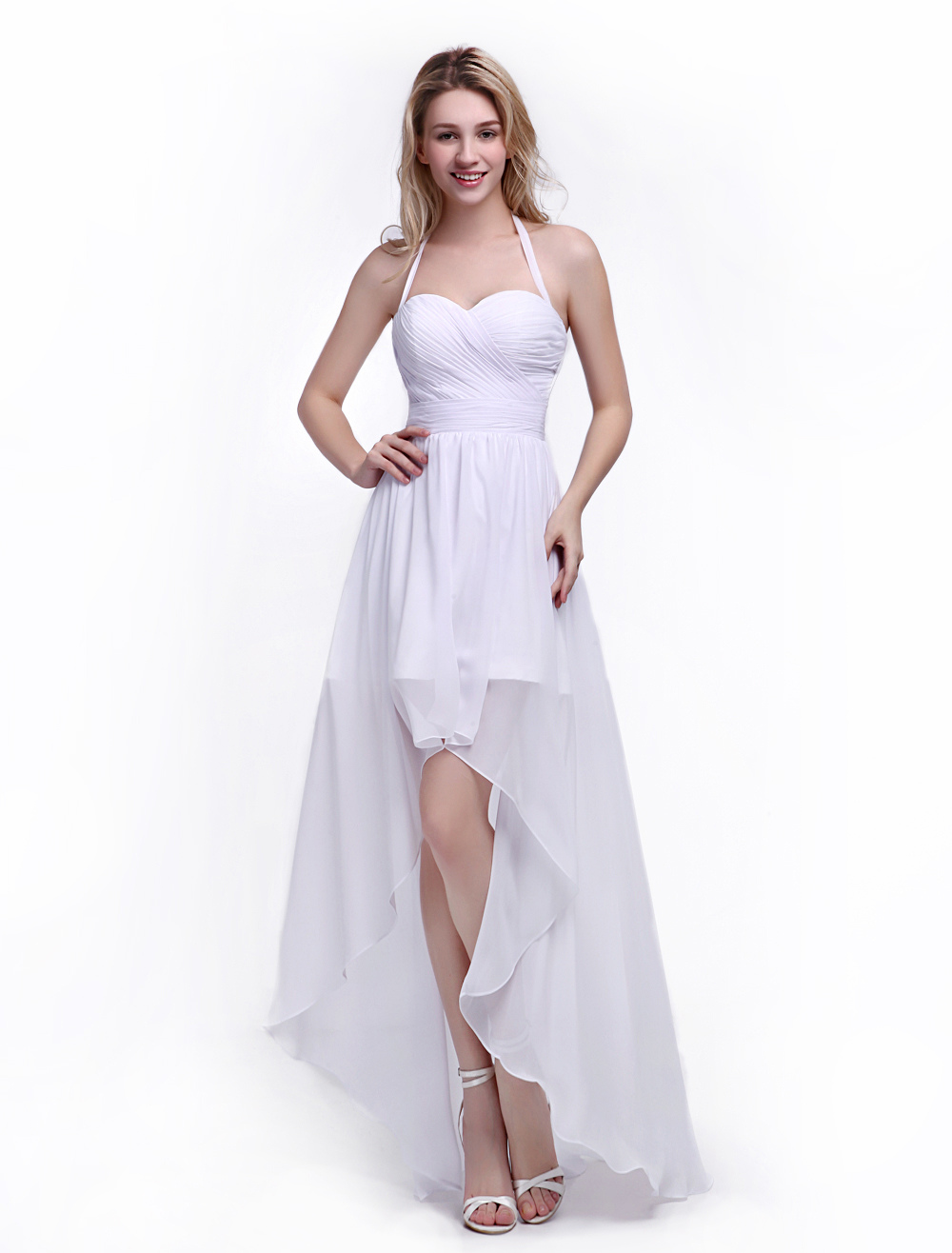 A-line Bridesmaid Dress with Halter Neck and Ruffles White Chiffon Skirt Milanoo