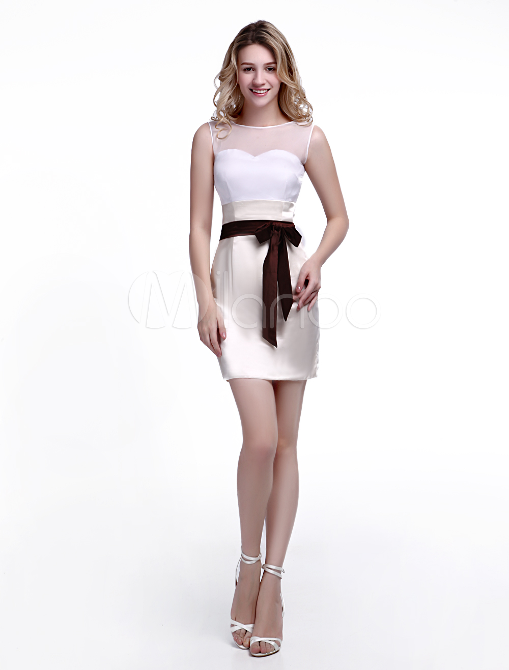 Buy Champagne Wedding Guest Dress Sheath with Jewel Neck Bow and Satin Skirt Wedding Guest Dress Milanoo for $99.99 in Milanoo store