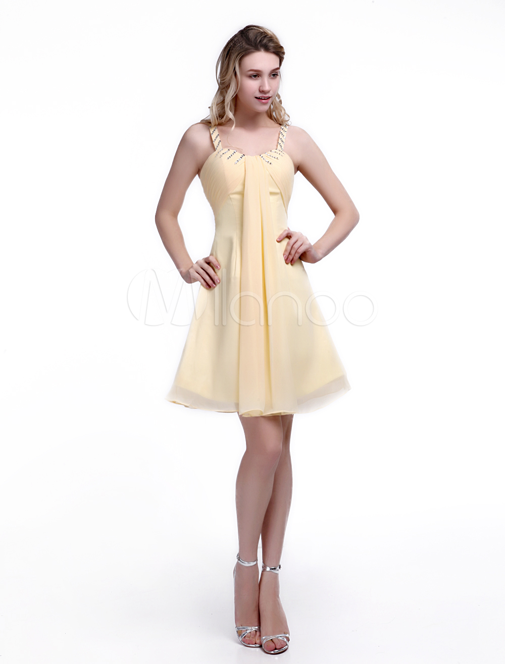 Daffodil Bridesmaid Dress with CHiffon A-line Straps Neck Beading Style Milanoo