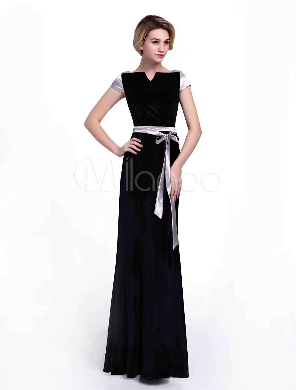 Black Bridal Mother Dress in A-line Notch Silhouette and Collar Knotted Short Sleeves Zipper Velvet Skirt Milanoo
