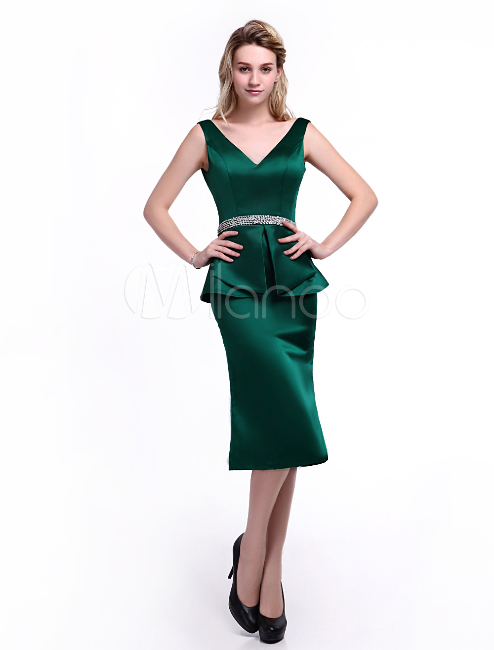 538866c94a71 ... Dress For Mother of the Bride with Sheath Off-The-Shoulder Satin. 12.  30%OFF. Color Dark Green