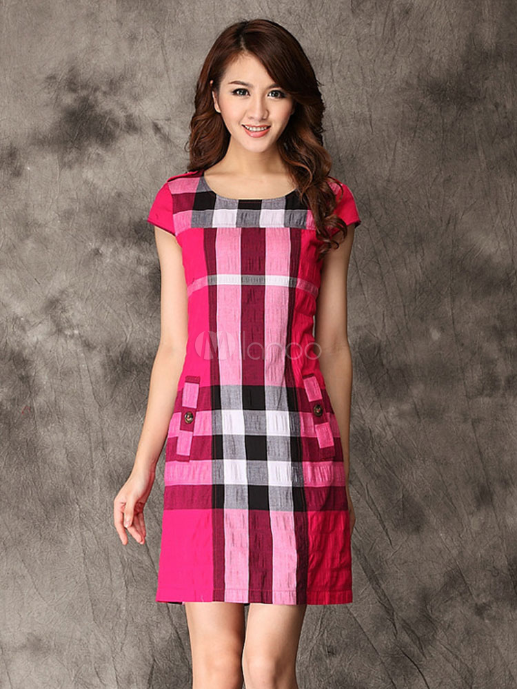 86a9cd028 Vestidos de tubo de 100% algodón de color de fucsia a cuadros -No.