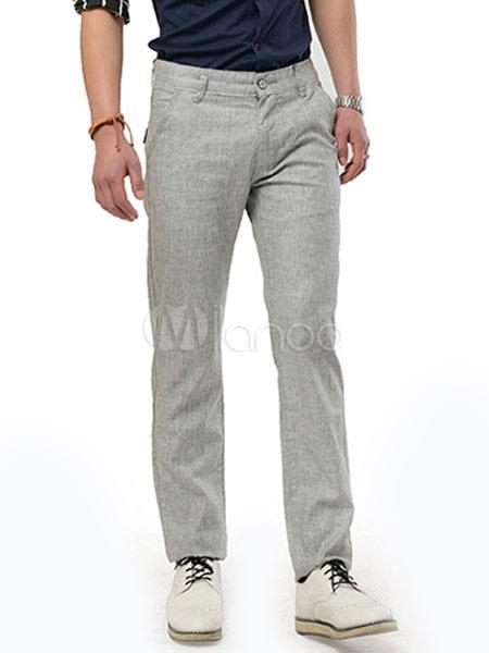 bd925c06fc Algodón lino Color sólido cómodos pantalones rectos para hombres -No.1 ...