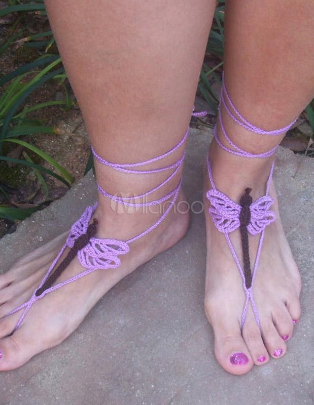 Sandalias descalzas de libélula bohemio púrpura patrón Crochet mujer ...