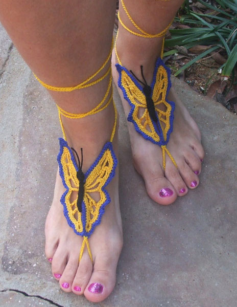 Accesorios de zapatos Mariposa naranja bohemio patrón Crochet pies ...