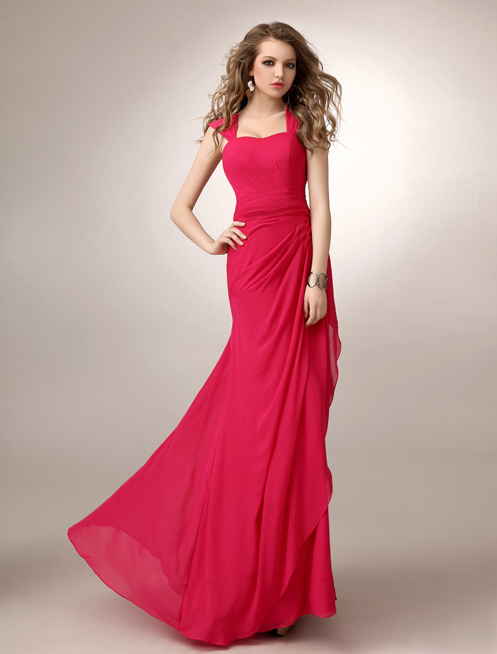 Buy Coral Chiffon Bridesmaid Dress Straps Ruched A Line Sweetheart Neck Floor-Length Wedding Party Dress for $116.44 in Milanoo store