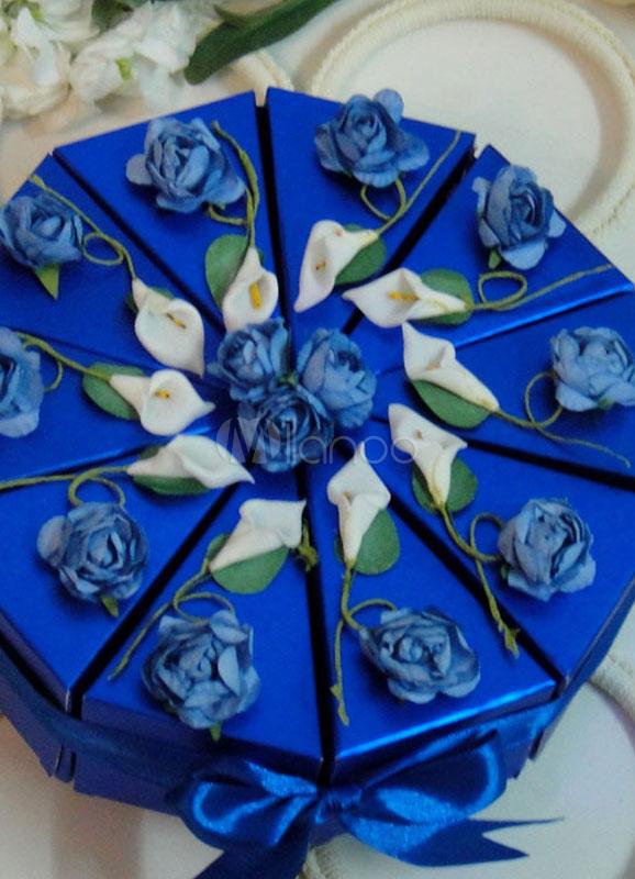 Blaue Blumen Art Papier Hochzeit Zucker Box Milanoo Com