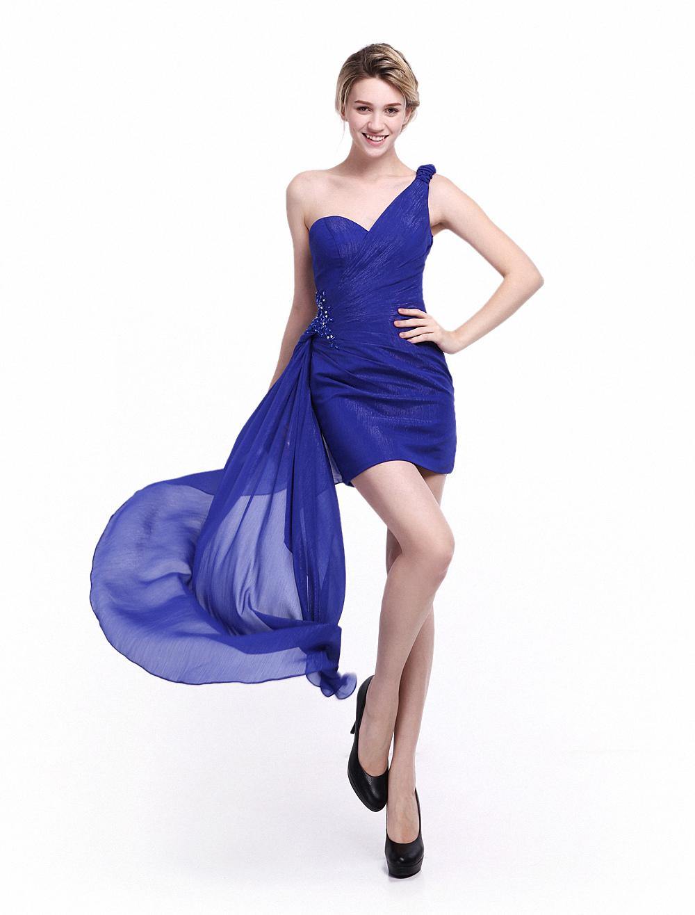 Vestido de damas de honor de azul francia con escote de corazón sin ...
