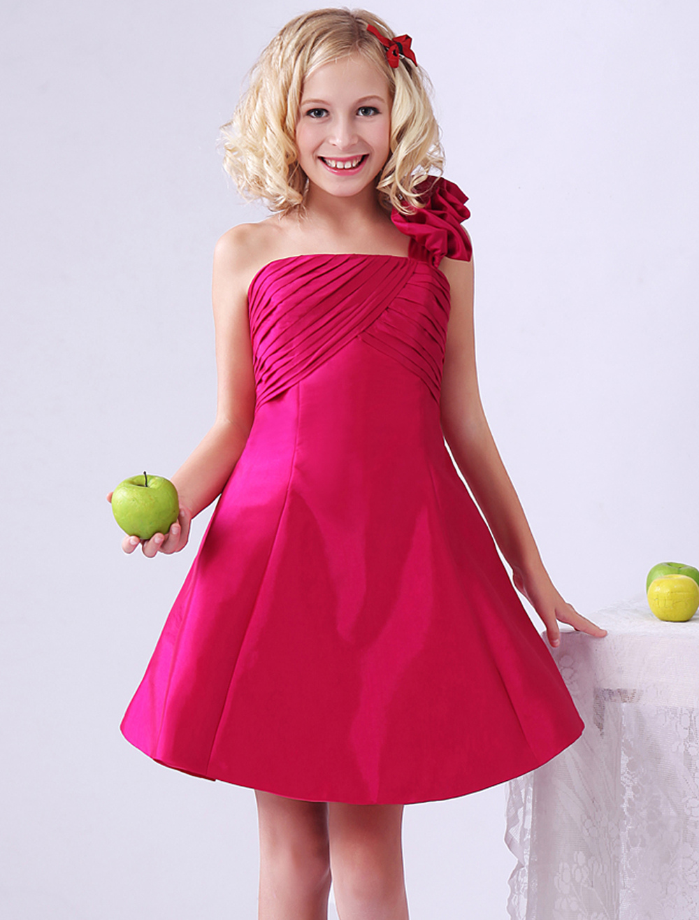One Shoulder Junior Bridesmaid Dress Hot Pink Knee Length A Line Ruched Taffeta Wedding Party Dress