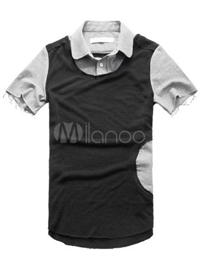 Smart Black Cotton Short Sleeves Mens Polo Shirt