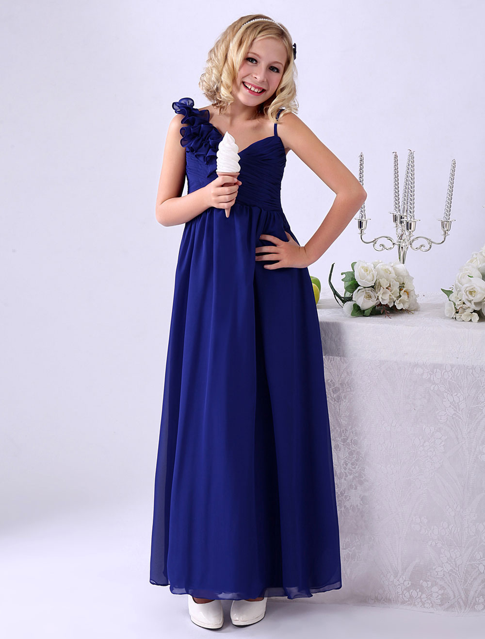 Royal Blue A-line Floor-Length Flower Chiffon Junior Bridesmaid Dress with V-Neck