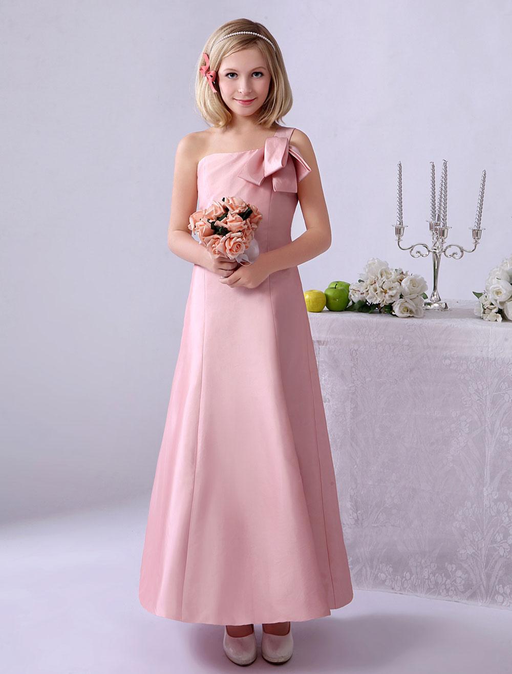 Vestido de damitas de honor de tafetán rosado de un solo hombro ...