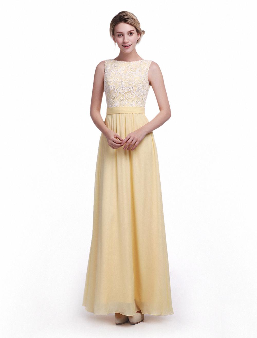Daffodil Sash A-line Floor-Length Bridesmaid Dress with Elegant Jewel Neck  Milanoo
