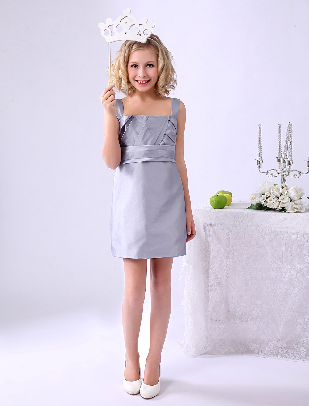 Silver Square Neck Sheath Bow Junior Bridesmaid Dress