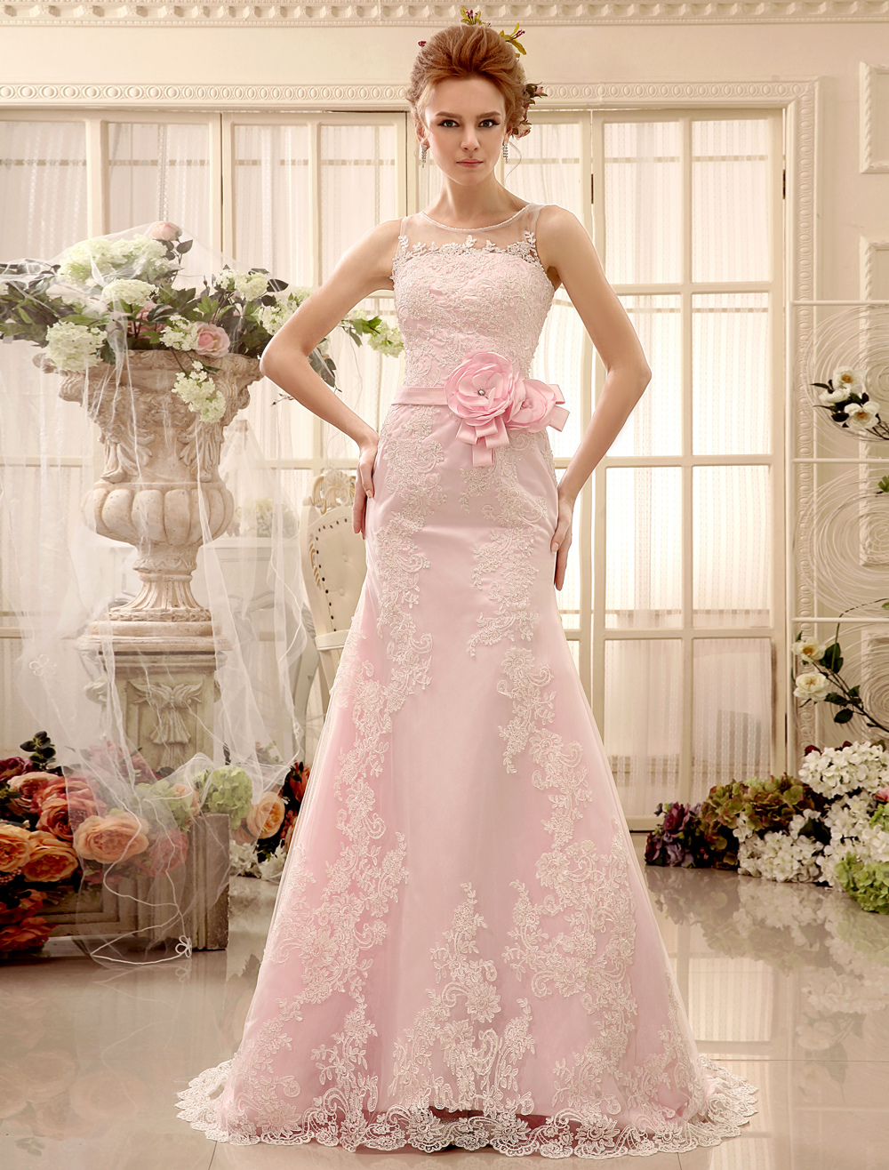 Flower Panel Train Pink Lace Wedding Dress For Bride with Sheath ...