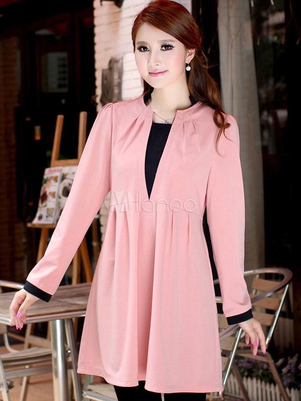 Bloque de Color rosa cómodo con muescas cuello mangas largas ...