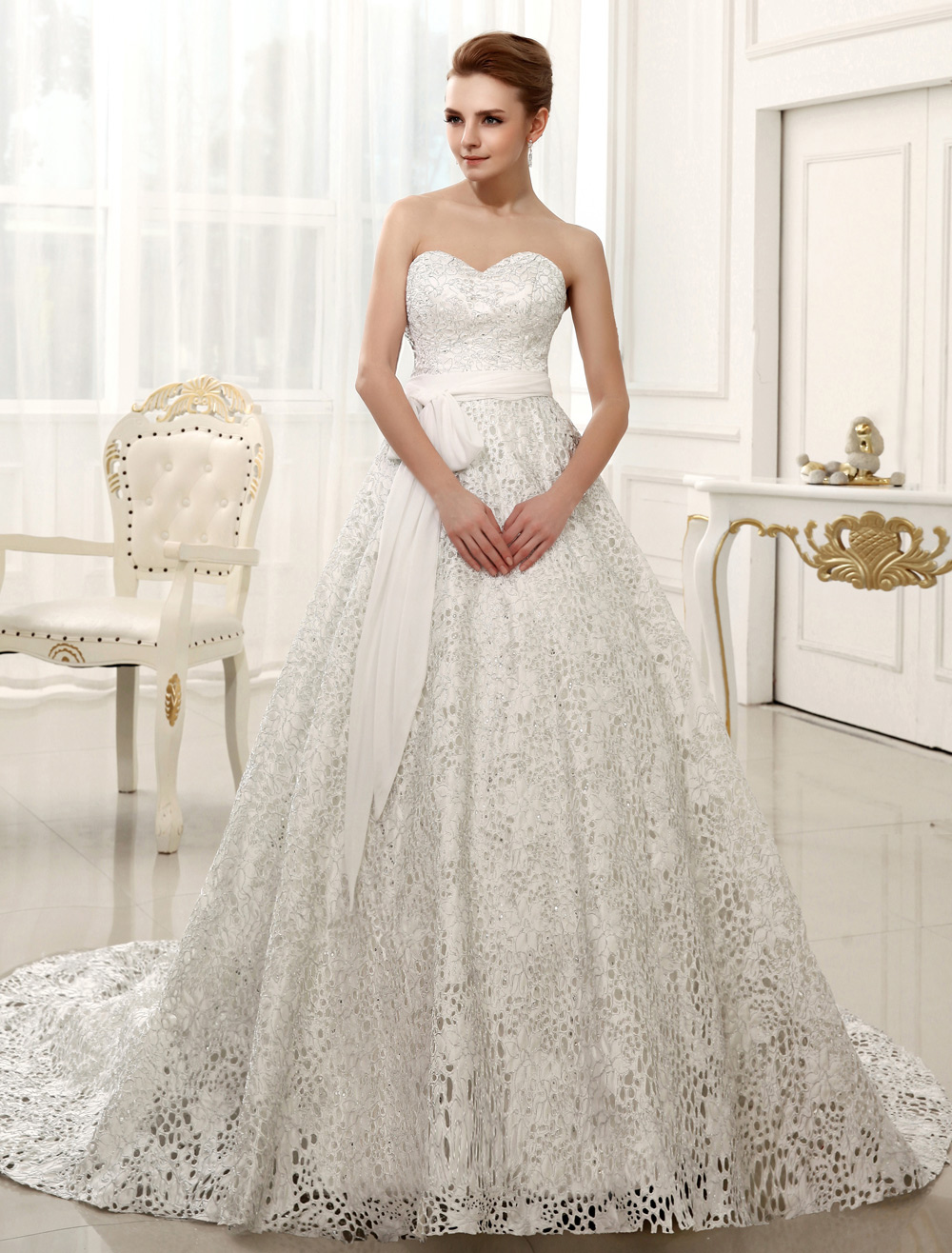 Chapel Train Ivory A-line Sash Wedding Dress For Bride with Sweetheart Strapless Neck  Milanoo