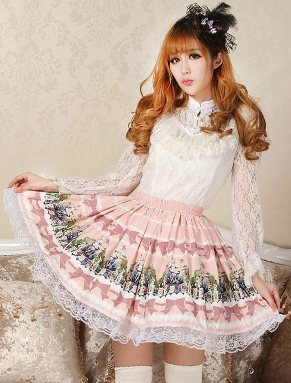 Lovely Pink Lace Printing Lolita Skirt