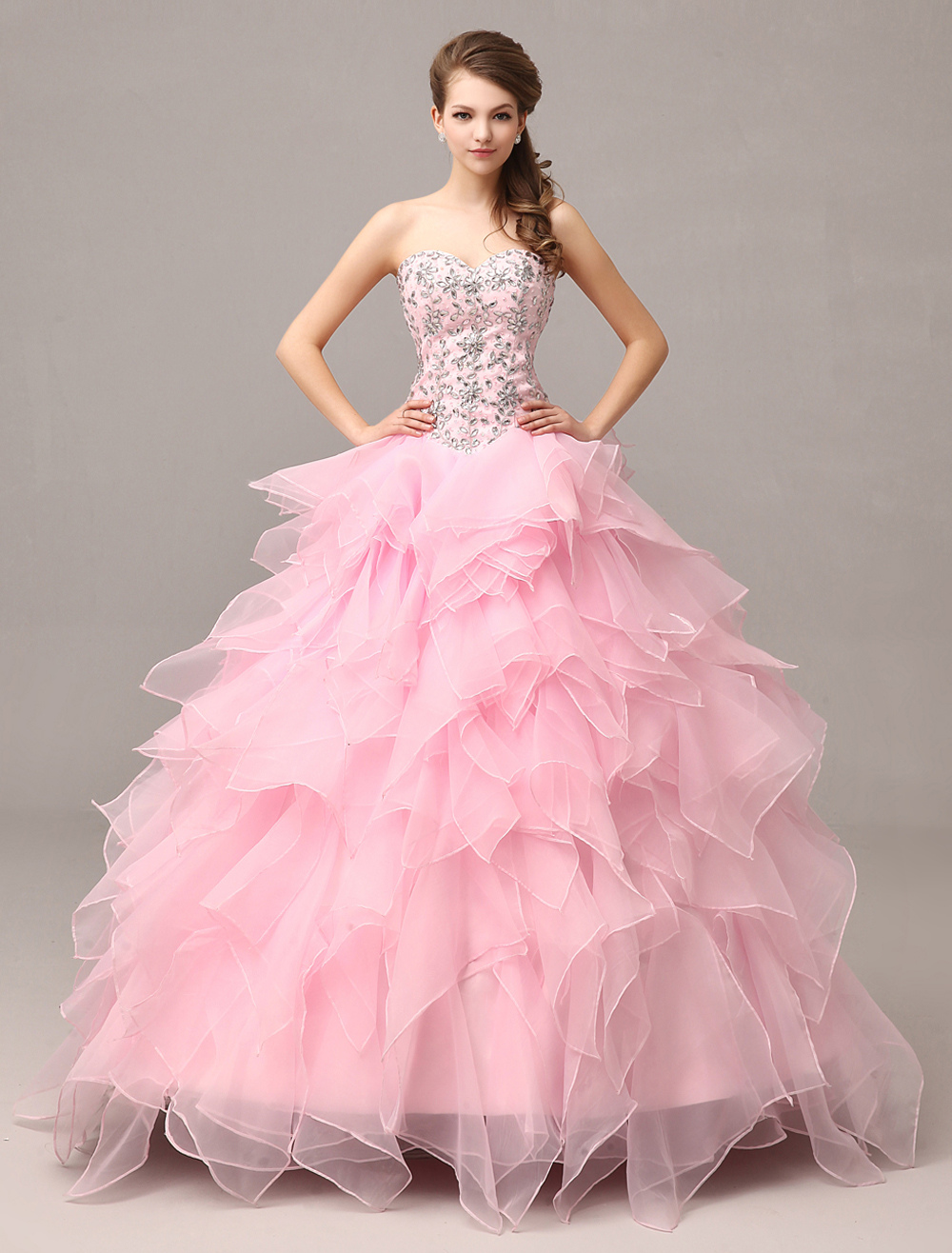 Pink Prom Dresses 2018 Long Organza Tiered Ruffles Quinceanera Dresses Ball Gown Sweetheart Strapless Beading Occasion Dress