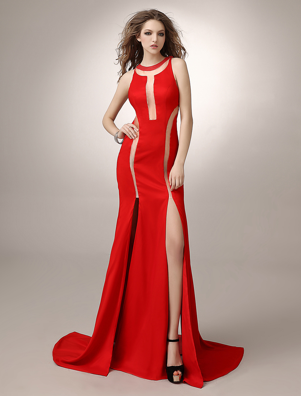Buy Sheath Red Sweep Cut Out Evening Dress with Jewel Neck for $129.99 in Milanoo store