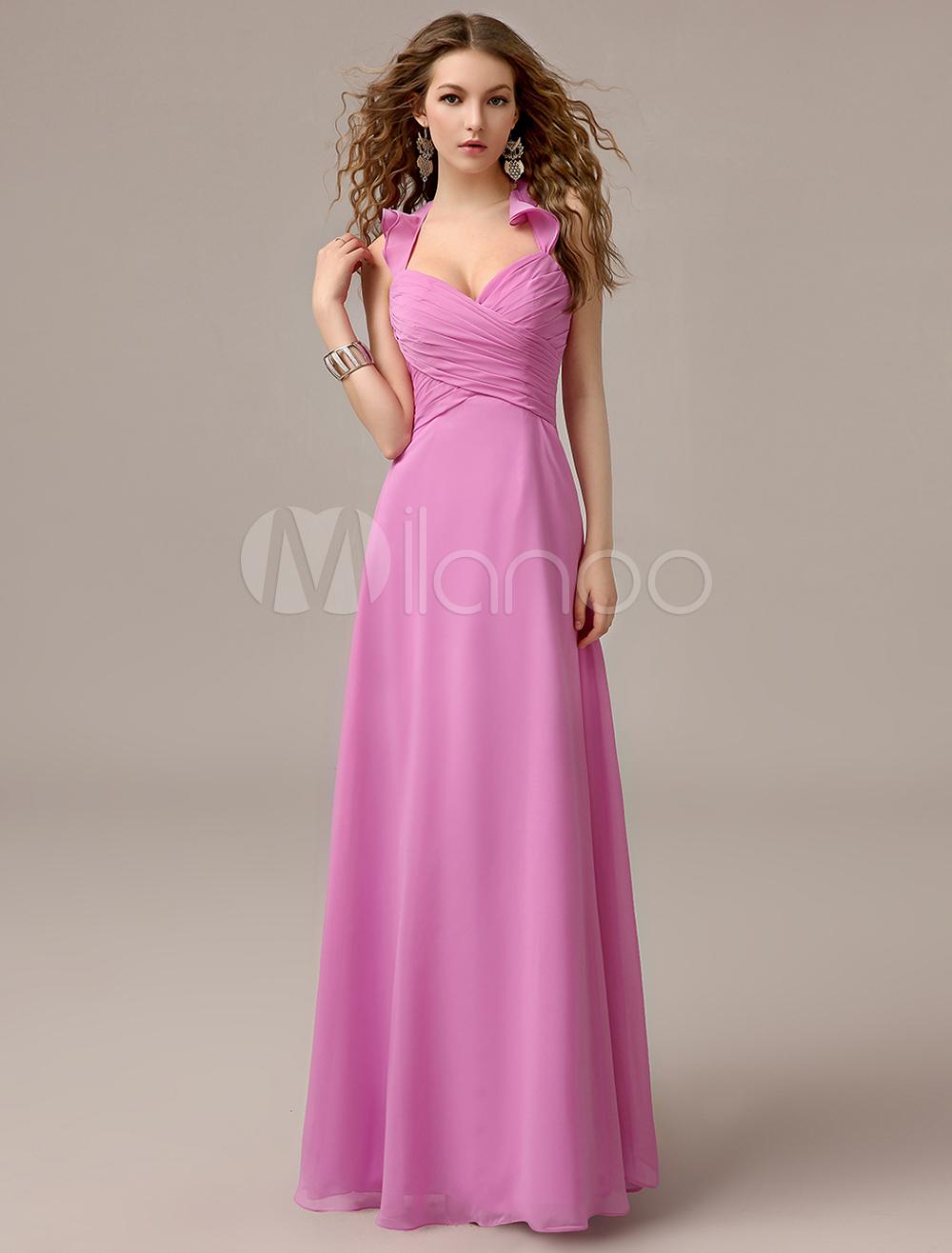 Fuchsia Pink Halter Bridesmaid Dress Ruffles A Line Floor Length Chiffon Wedding Party Dress